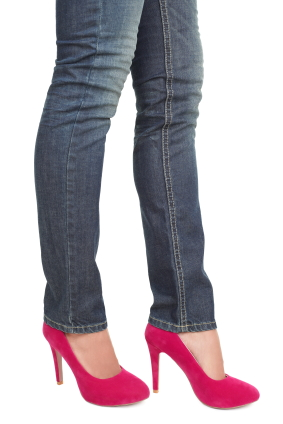 Pink high heels and jeans